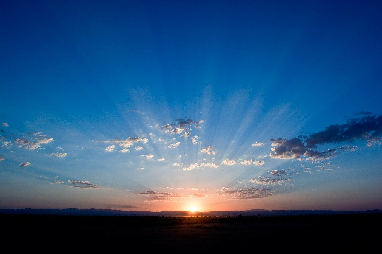 sunrise, sky, blue